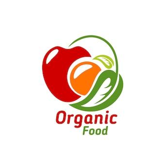 유기농 식품 아이콘, 사과, 오렌지, 녹색 잎이 흰색 배경에 분리된 벡터 상징입니다. 생태 자연 농장 생산, 에코 시장 건강 식품, 상점 소매 라벨 디자인