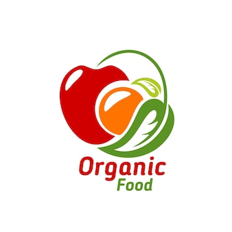 Organic food icon, vector emblem with apple, orange and green leaf isolated on white background. ecological natural farm production, eco market healthy food, retail label design for store
