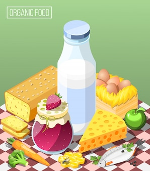 Organic food isometric composition