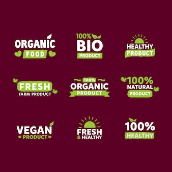 Organic food labels collection