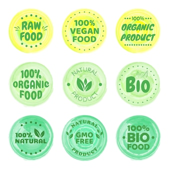 유기농 식품 라벨. 신선한 에코 채식 제품, 완전 채식 라벨 및 건강 식품 배지. 채식주의 로고, 채식주의 식단 스티커 또는 생태 식품 스탬프. 채식 에코 그린 개념입니다.