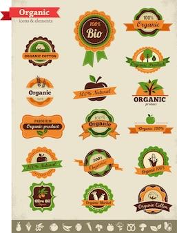 Набор наклеек органических продуктов питания
