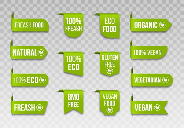 Этикетки органических продуктов питания vegan icon set логотипы и значки
