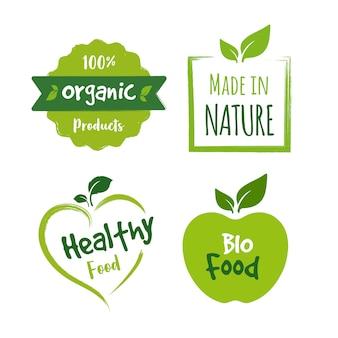 Коллекция логотипов органических продуктов питания