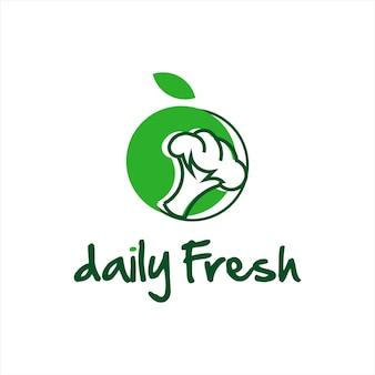 Organic food logo eat broccoli fresh