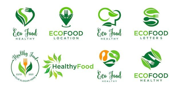 Органические продукты питания логотип эко еда значок значок диеты зеленая еда значок векторный дизайн логотипа