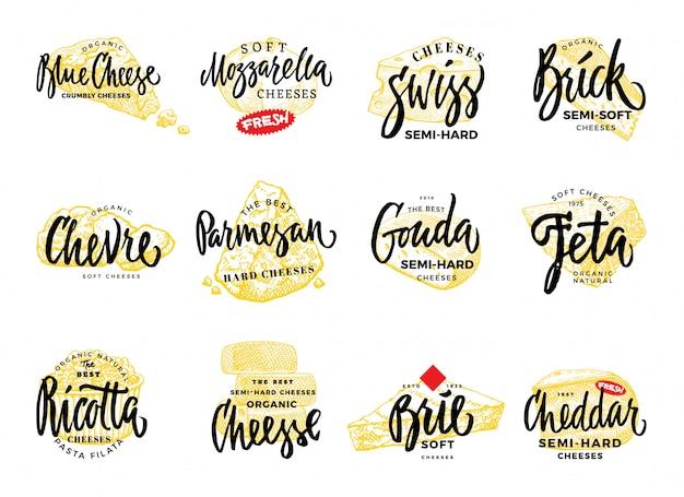 Organic food logos set