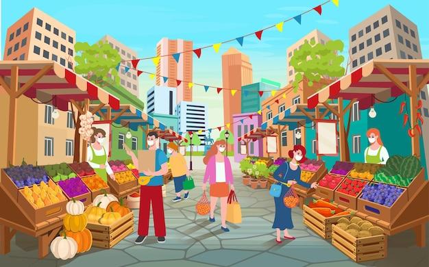 Улица рынка органических продуктов питания с людьми. прилавки продуктового рынка с фруктами и овощами.