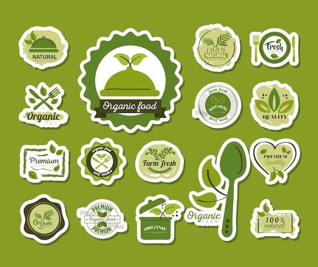 Органические продукты питания, набор этикеток и значков