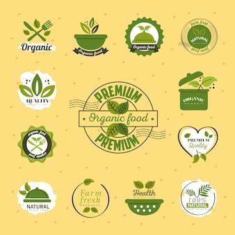 Organic food, set labels and badges