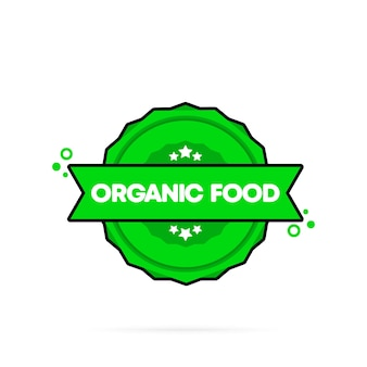 Organic food stamp. vector. organic food badge icon. certified badge logo. stamp template. label, sticker, icons. vector eps 10. isolated on white background.