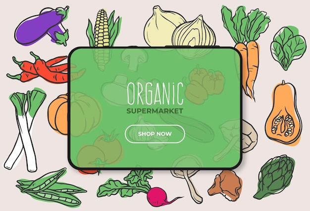 Organic food supermarket banner with tablet