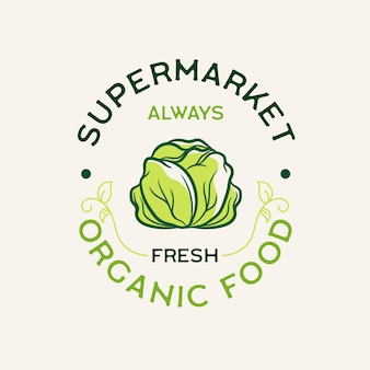 Organic food supermarket logo
