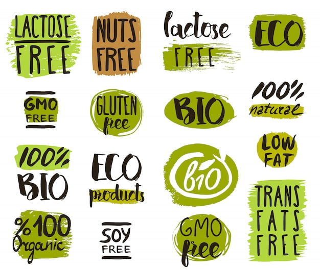 Organic food tags, elements and logo