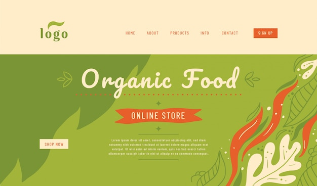 Organic food website landing page template design.