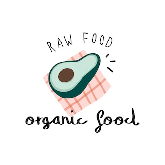 Organic food with an avocado vector