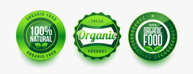 Set di etichette verdi per alimenti freschi biologici