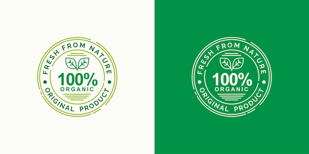 Organic fresh from nature label stamp concept