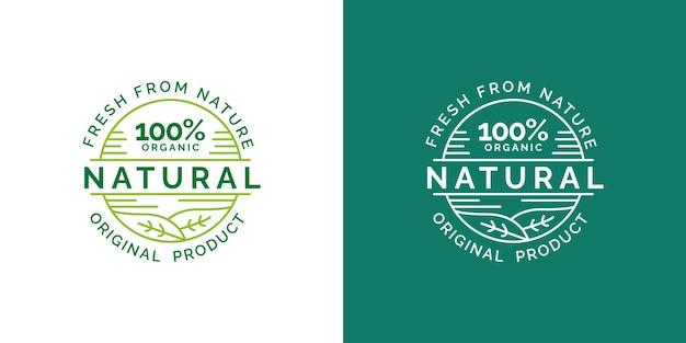 Organic fresh from nature label stamp concept Premium Vector