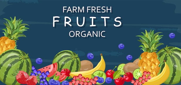 Organic fresh fruits banner