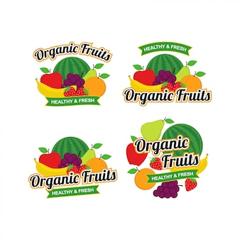 Organic fresh fruits logo design vector