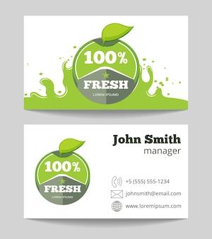 Organic fresh natural food business card