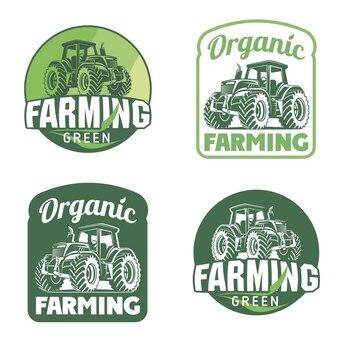 有機生鮮食品ベクトルのロゴイラスト有機製品ファーマーズマーケットのエンブレム