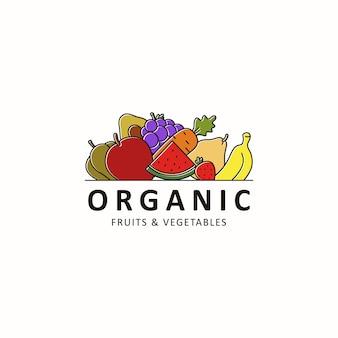 Органические фрукты и овощи логотип