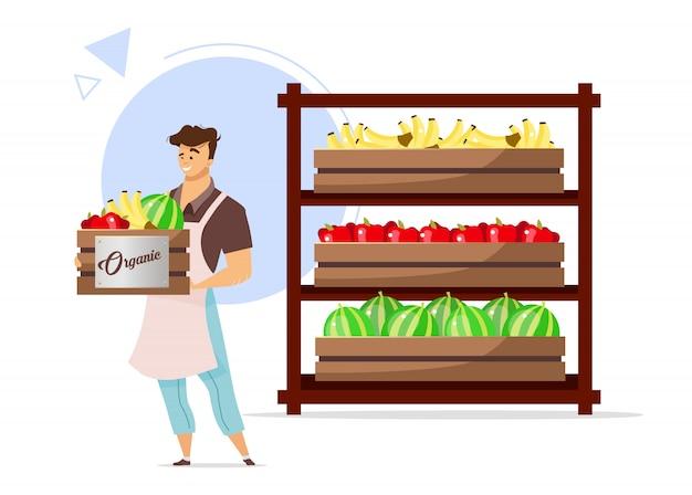 有機フルーツカラーイラスト。バナナ、リンゴ、スイカの箱を持って男。棚付き収納室の男性キャラクター。農業。白い背景の上の漫画のキャラクター