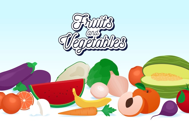Organic fruit and vegetables background