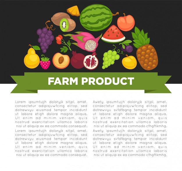 健康食品や農場の果実の有機フルーツポスター。