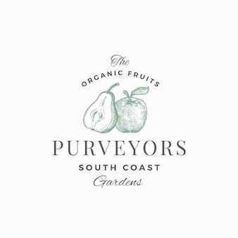 Органические фрукты поставщики абстрактный знак, символ или шаблон логотипа. половина груши и яблока с эскизом силуэтов листьев с элегантной ретро типографикой. винтажная роскошная эмблема.