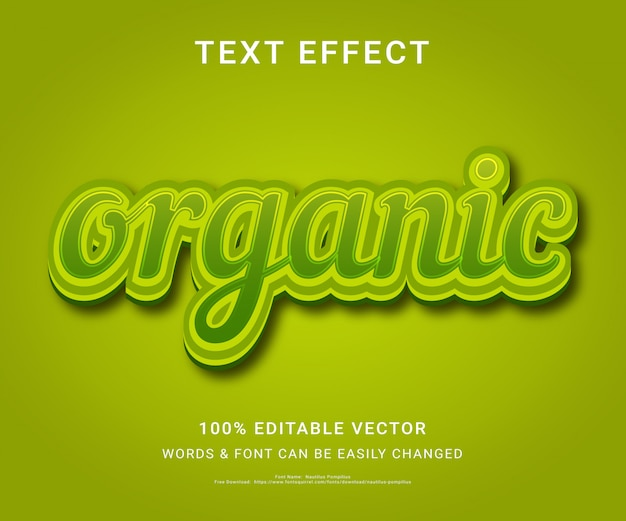 Organic full editable text effect