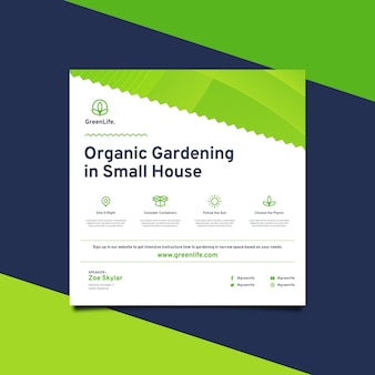Organic gardening square flyer template
