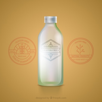 Organic glass bottle with label