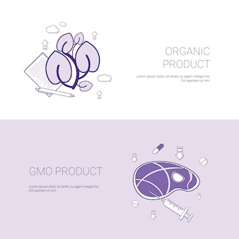 Organic and gmo product concept template web banner with copy space