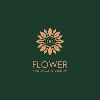 Organic gold flower logo template