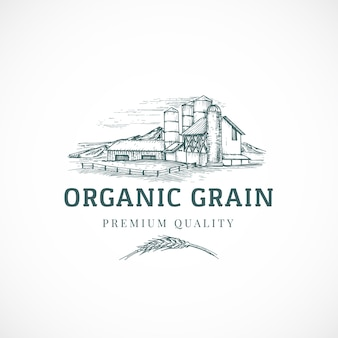 The organic grain elevator abstract  sign, symbol or logo template.