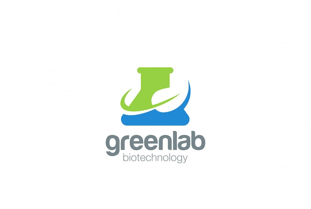 Organic green bio lab logo vector icon.