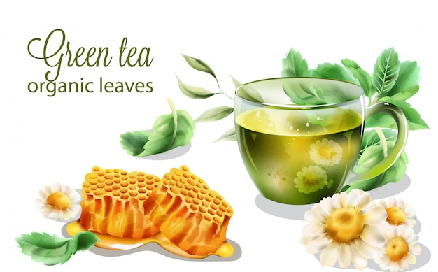 Organic green tea with mint leaves and decorations