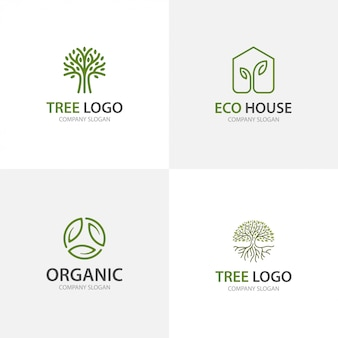 Organic green tree and leaf logo collection