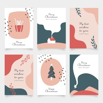Collezione di cartoline di natale disegnate a mano organiche