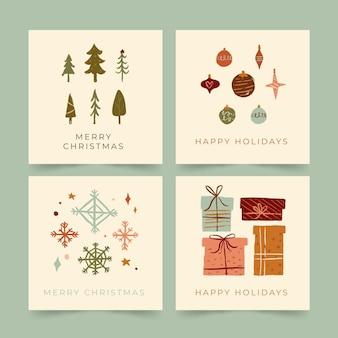 Cartoline di natale disegnate a mano organiche