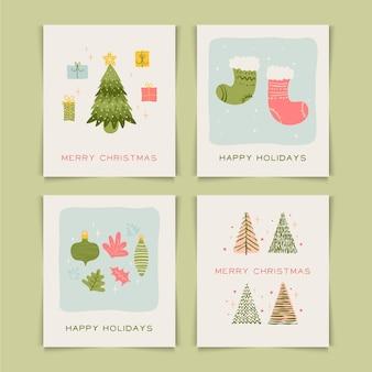 유기 손으로 그린 크리스마스 카드