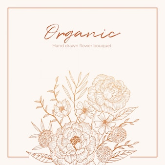 Organic hand drawn floral card vector design garden flower lavender rose white anemone eucalyptus thyme leaves elegant greenery, berry, forest bouquet print.
