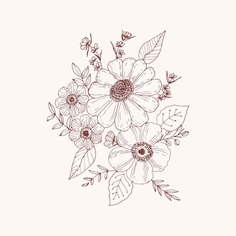 Organic hand drawn floral card vector design garden flower lavender rose white anemone eucalyptus thyme leaves elegant greenery, berry, forest bouquet print.