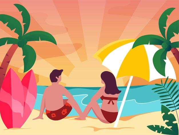 평면 비치에 유기 손으로 그린 여름 장면