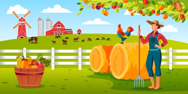 Иллюстрация фермы органического урожая с женщиной-фермером, держащей вилы, петуха, стог сена, сарай, домашний скот