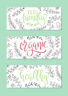 Organic, healthy and eco friendly food banners.