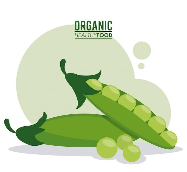 Organic healthy food peas pod green